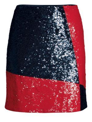 Colorblock Sequin Mini Skirt