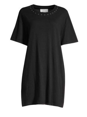 CURRENT ELLIOTT Current/Elliott The Glitter Rock T-Shirt Dress in Caviar With Des