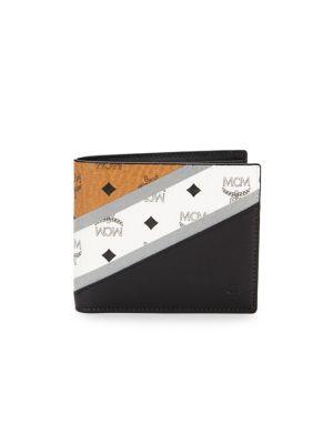 M Move Visetos Stripe Bifold Wallet