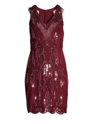 Sleeveless Beaded Fringe Cocktail Dress