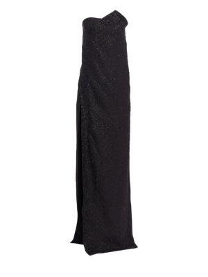 Chalet Strapless High Slit Gown