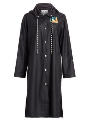 Pswl Hooded Rubberized Raincoat in Black