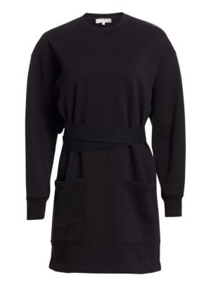 Pswl Belted Sweatshirt Dress in Black
