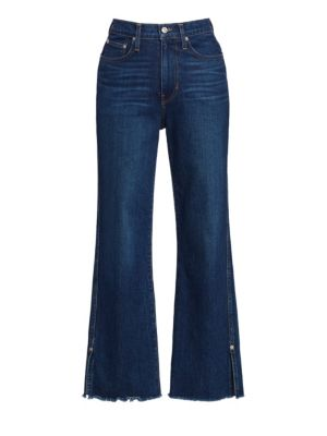 High-Rise Cropped Distressed Hem Jeans