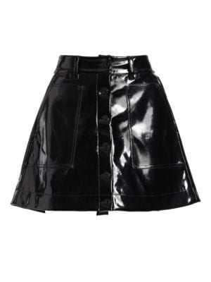Vinyl Button-Front Skirt