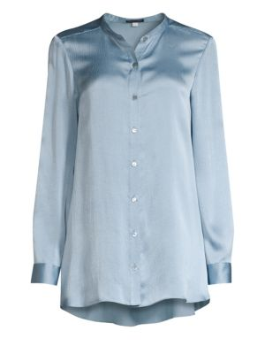 Mandarin Collar Silk Shirt
