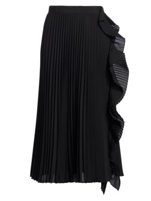 Pleated Ruffle Front Skirt