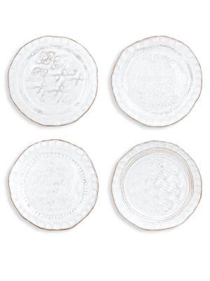 4-Piece Bellezza Stone White Assorted Canapé Plates Set