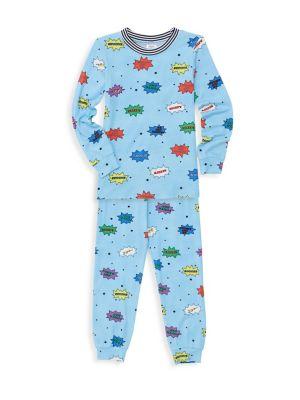 Little Boy's & Boy's Comic 2-Piece Top & Pants Pajama Set