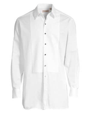 Modern Fit Panelled Bib Cotton Twill Evening Shirt