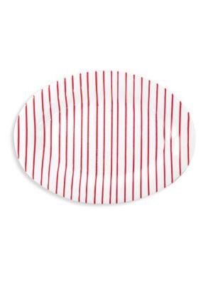 Red Stripe Medium Oval Platter