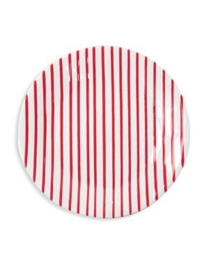 Red Stripe Dinner Plate