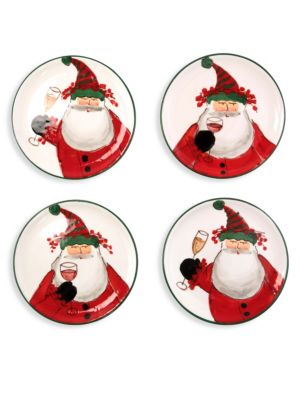 4-Piece Boxed Old St. Nick Cocktail Plates Set