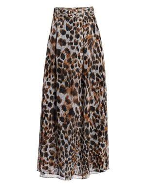 Ocelot-Print Chiffon Maxi Skirt