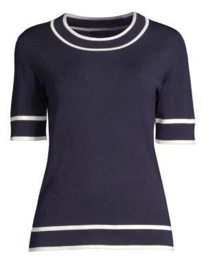 ESCADA Crewneck Short-Sleeve Wool Pullover Sweater W/ Contrast Trim in Navy