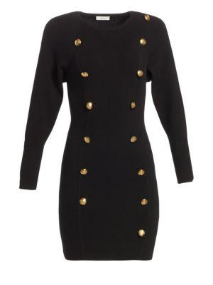 Rhea Button Front Sweater Dress in Black