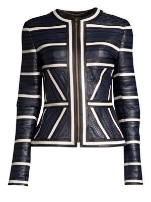 ESCADA Leather Seamed-Stripe Zip Jacket in Blue