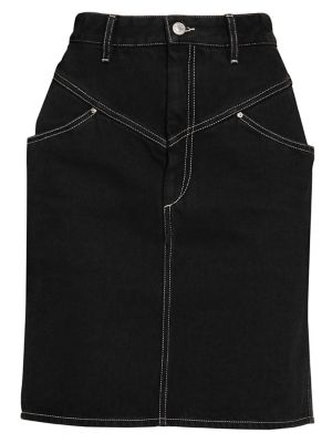 Lorine Stitched Denim Pencil Skirt in Black
