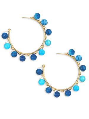 Dada Blue Bead Hoop Earrings