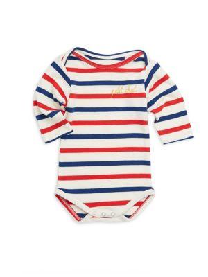 Baby's Long Sleeve Striped Cotton Bodysuit