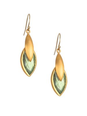DEAN DAVIDSON | Lotus 22K Goldplated & Labradorite Earrings | Goxip