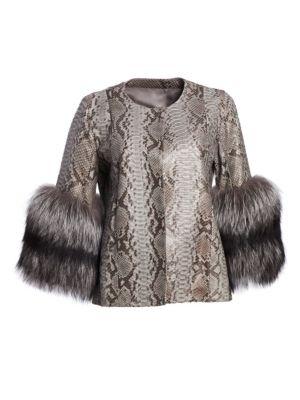 Python & Fox Fur Cuff Jacket, Mud Grey Silver