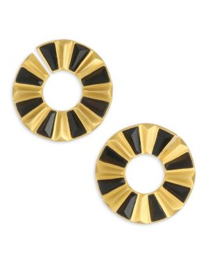 DEAN DAVIDSON | Mosaic 22K Goldplated & Black Onyx Stud Earrings | Goxip
