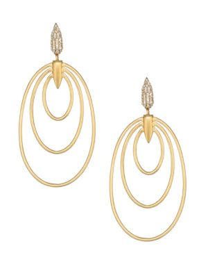 DEAN DAVIDSON | White Spinel & 22K Goldplated Wave Earrings | Goxip