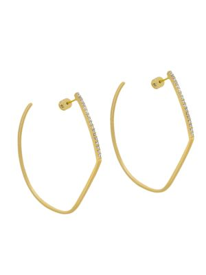DEAN DAVIDSON | White Spinel & 22K Goldplated Spire Hoop Earrings | Goxip