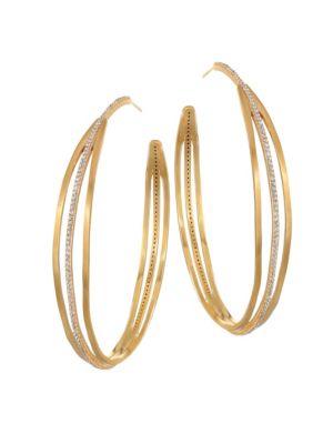 DEAN DAVIDSON | White Spinel Pavé & 22K Goldplated Trinity Hoop Earrings | Goxip