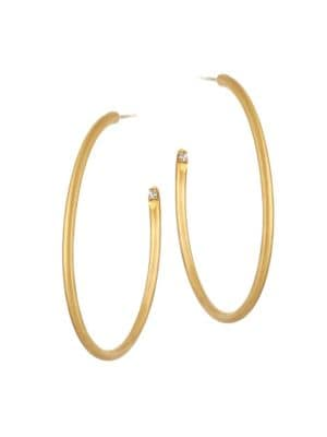 White Spinel & 22K Goldplated Thin Tribe Hoop Earrings