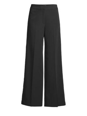 Sia Sequin-Side Wide-Leg Pants, Black