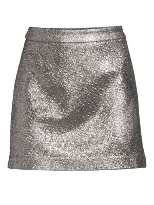 Laminated Mini Skirt, Silver