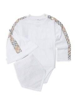 버버리 남아용 3피스 바디수트 Burberry Babys Alby Three-Piece Bodysuit, Hat & Bib Set,White
