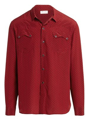 Western Print Silk Button-Down Shirt