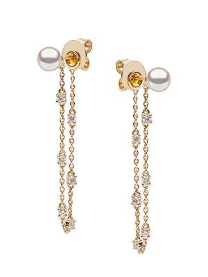 18K Yellow Gold, Pearl & Diamond Chain Earrings