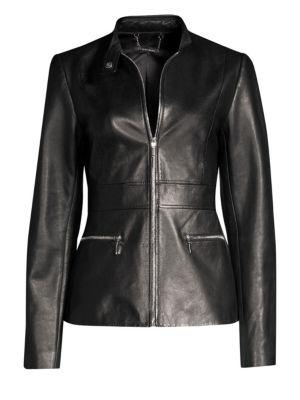 ELIE TAHARI Deepa Zip-Front Leather Jacket in Black