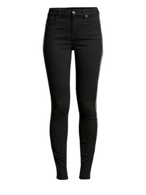 7 FOR ALL MANKIND | High-Rise Skinny Beaded Racing Stripe Jeans | Goxip
