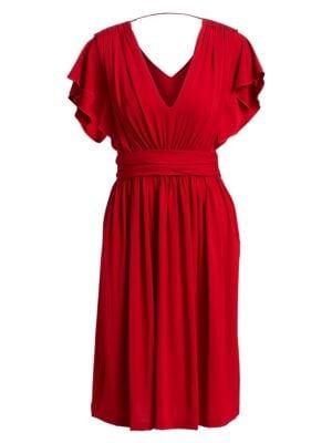 Short Sleeve V-Back Dress
