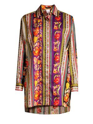 Ribbon Floral Tunic Blouse