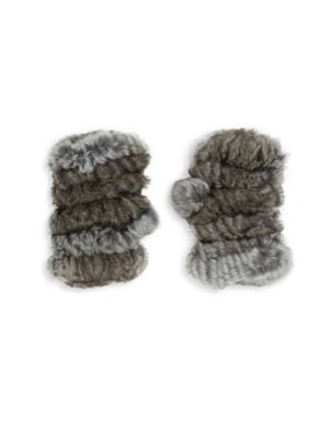 Mandy Rabbit Fur Fingerless Mittens