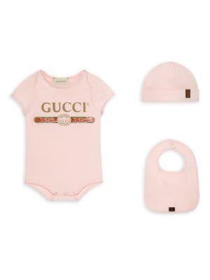 Baby Girl's Bodysuit, Hat & Bib Set