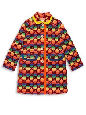 Girl's Velvet Rainbow GG Monogram A-Line Coat