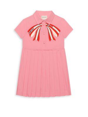 Little Girl's & Girl's Bow Logo Poplin Dress
