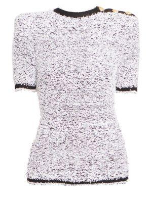 Tweed Shoulder Button Top
