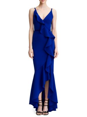 Sleeveless Stretch Crepe Ruffle Gown