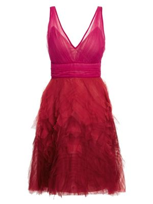 MARCHESA NOTTE Fit-&-Flare Tulle Cocktail Dress in Fuschia