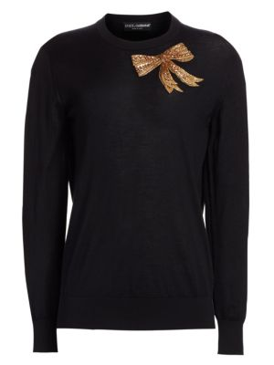 Embellished Bow Cashmere Sweater