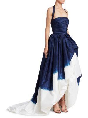 Silk Halterneck Dip-Dyed Ball Gown