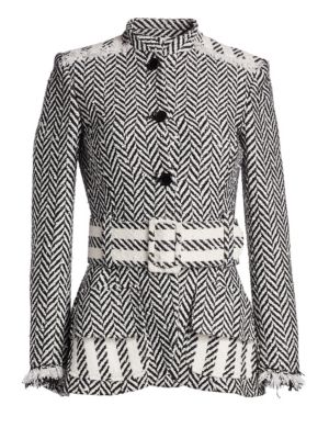 OSCAR DE LA RENTA | Herringbone Belted Jacket | Goxip